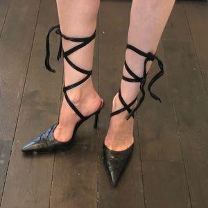 Cesare Paciotti Lace Up Leather Mules 39 8.5